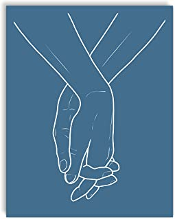 Printsmo, Holding Hands, Minimalist Modern Abstract Art Print Poster, Contemporary Wall Art for Home Decor 11x14 inches, U...