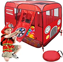 Play Tent for Kids Fire Truck Pop Up Playhouse Red (with Step) for Boys Girls or Pet Use Indoor/Outdoor Large Can Fit Chil...