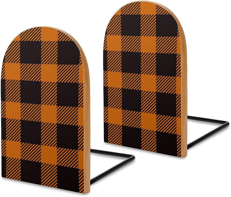 2 Pcs Wood Bookends Orange Buffalo Max 79% OFF Art Classic Beauty Max 76% OFF Book Plaid