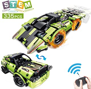 AOKESI STEM Kits Building Toys for Kids Remote Control Racing Car with 2-in-1 Put Together Engineering Kits Building Blocks Best Gift Racing Car Toys for 6.7.8.9 Year Old Boys and Girls [335PCS]