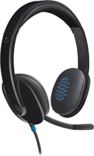 Logitech H540 Wired Headset, Stereo Headphone with Noise-Cancelling Microphone, USB, On-Ear Controls, Mute Indicator Light...
