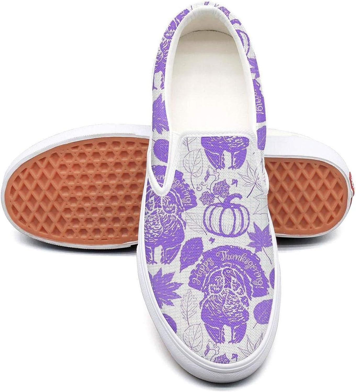 Sernfinjdr Women's Purple Thanksgiving Turkeys Fashion Casual Canvas Slip on shoes Comfort Running Sneakers