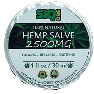 SIQ 360 Natural Hemp Extract Skin Healing Salve - 2500 Mg - Hemp Salve Contains Turmeric, MSM & Arnica - Relieves Inflammation, Muscle, Joint, Back, Knee, Nerves & Arthritis Pain - Made in USA Non-GMO