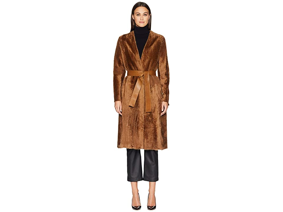 Vince Belted Shearling Coat (Camel) Women