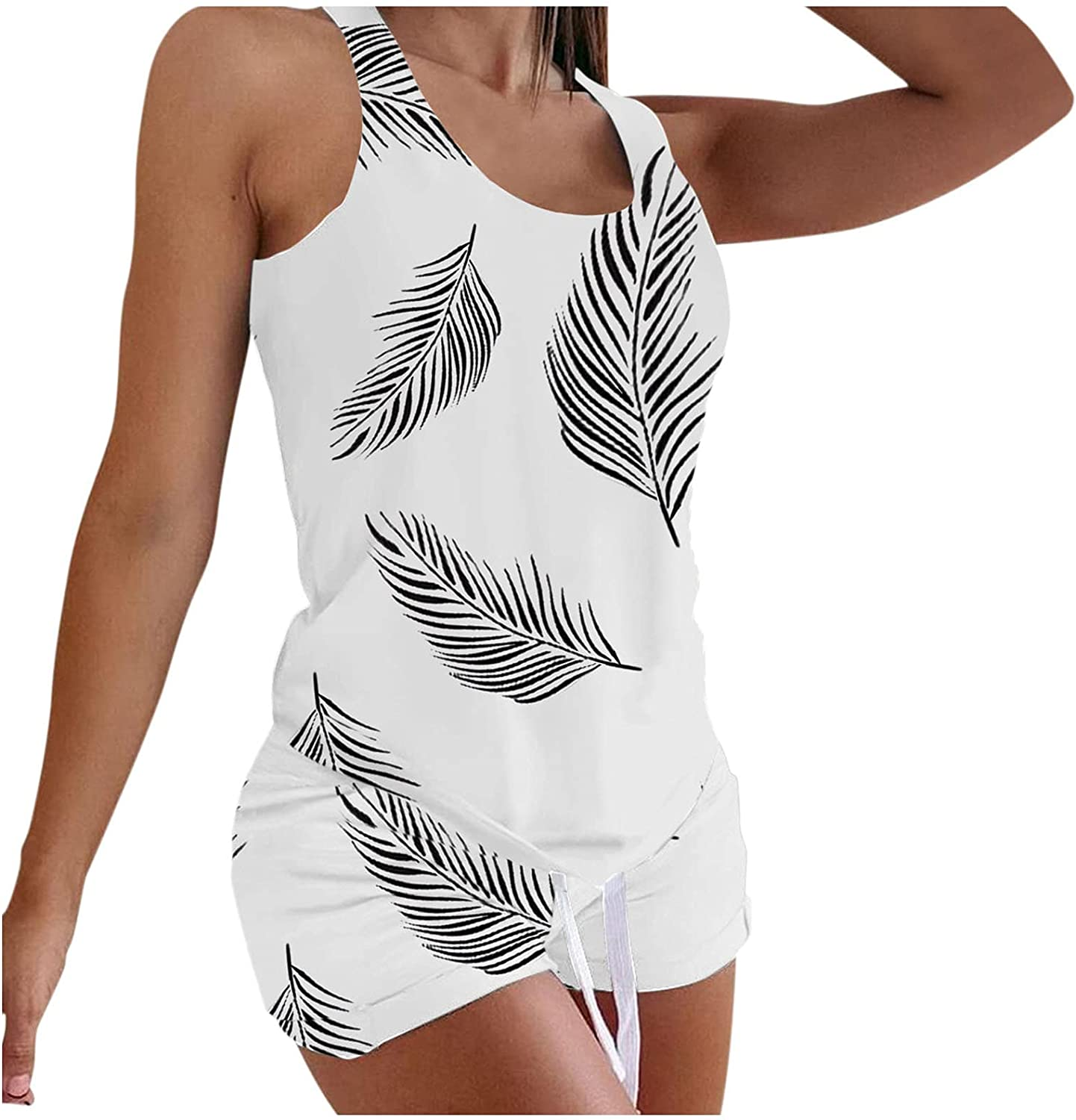Thklokt Women's Sleepwear Sleeveless Printing Casual Loose Vest Two-Piece Suit with Shorts Super Comfy Soft Fabric Nightwear