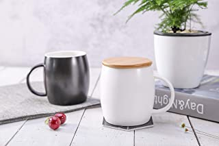 Coffee Mugs with Lid 12 OZ, 2 Pack Black and White Ceramic Coffee Tea Cups Set