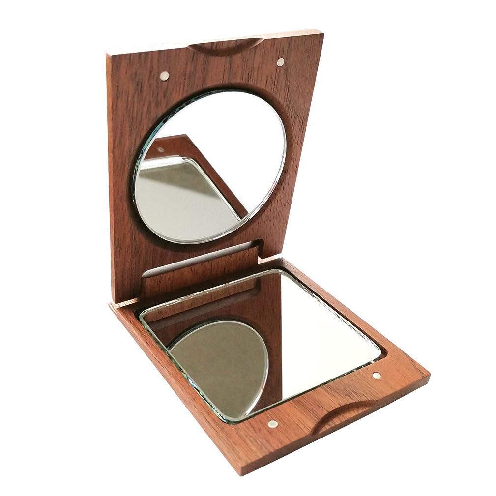 知的商人知るきざむ 名入れ 木製 手鏡 ハンドミラー ギフト