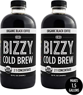 Bizzy Cold Brew Coffee Concentrate | USDA Organic (32 oz Black, 2 Pack)