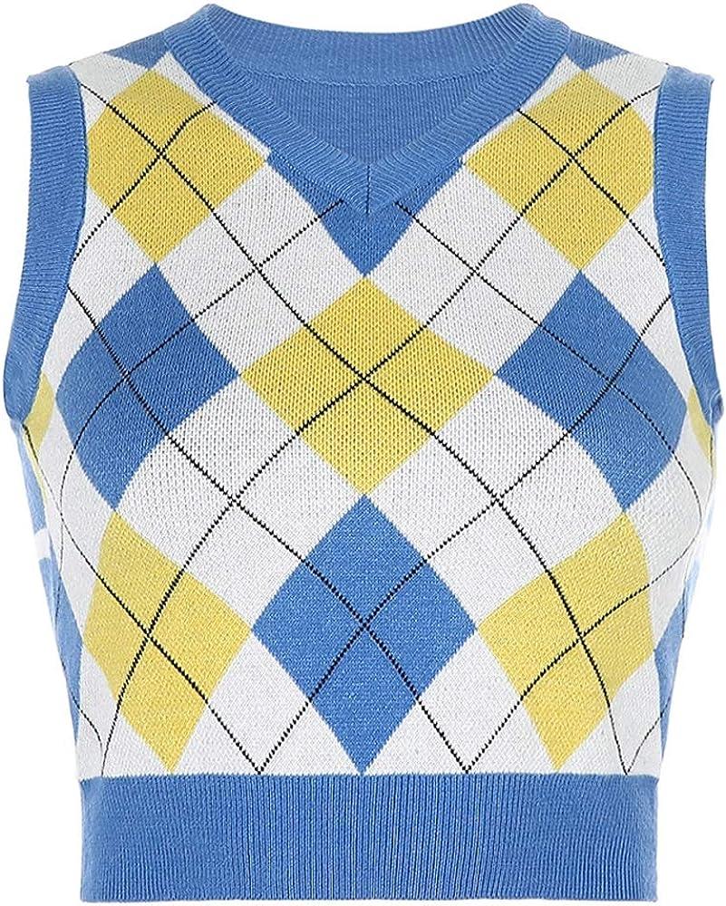 Women Classic Sweater Vest Argyle Plaid Sleeveless V Neck Knitted Tank Slim Fit Preppy Style Vintage Knitwear