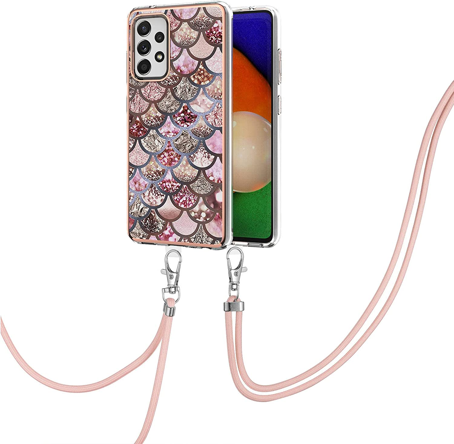 Eyilin Marble Pattern Lanyard Case for Samsung Galaxy A52 5G, Shockproof Bronzing Frame Cover with Adjustable Crossbody Neck Strap Soft Silicone Gel TPU Clear Bumper Thin Protective Back Case