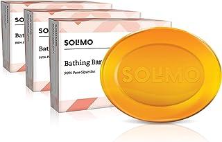 Amazon Brand - Solimo Glycerine Bathing Bar (Pack of 3), 3 x 125g