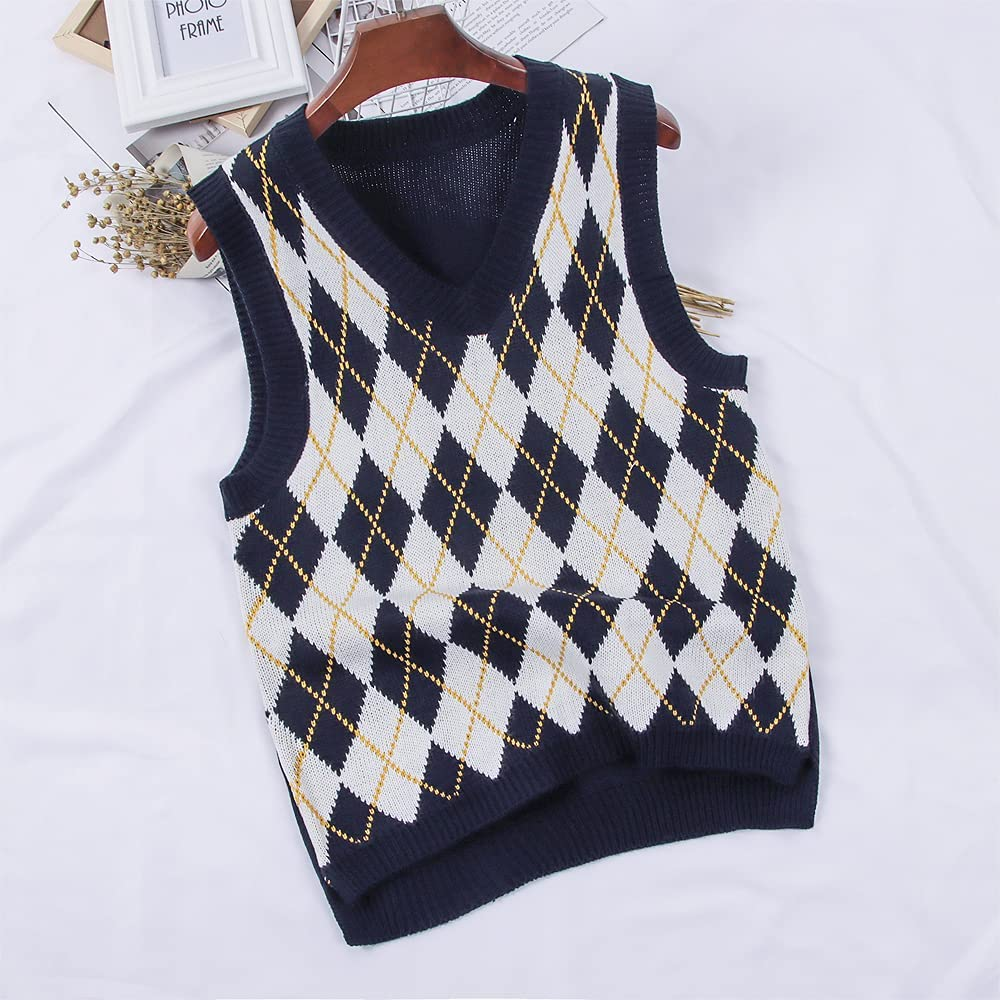 Buy Women's V Neck Knitted Sweater Vest Y21K Argyle Plaid Preppy ...