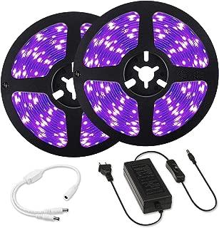 Black Light Strips kit, Elfeland 33ft 12V Flexible Blacklight Fixtures with 600 Units UV Lamp Beads, 10m LED Ribbon, Non-Waterproof for Indoor Dance Party, Body Paint, UV Lighting, Bed Room