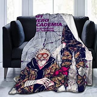Custom Fleece Bed Blankets, HeroAca Bnha Anime Camouflage Fanart Bakugo and Shoto Todoroki Personalized Throw Blankets, Anti-Static Ultra Cozy DIY Blanket for Men Better Relaxing Holiday