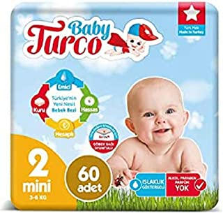 Baby Turco BBTR100001 Baby Diapers, Ultra Comfort and Protection, Mini (3-6 kg) - 60 Pieces, Pack of 60