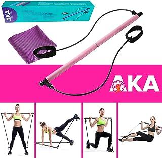 AKA Sports Gear Portable Yoga Exercise Pilates Bar, Pilates Bar Kit with Resistance Band,Yoga Pilates Stick Total Body Wor...