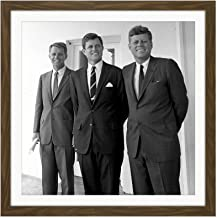 Portrait President JFK Brothers John Robert Ted Kennedy Photo Square Wooden Framed Wall Art Print Picture 16X16 Inch
