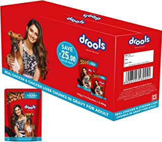 Drools Adult Wet Dog Food, Real Chicken and Chicken Liver Chunks in Gravy, 15 Pouches (15 x 150g)