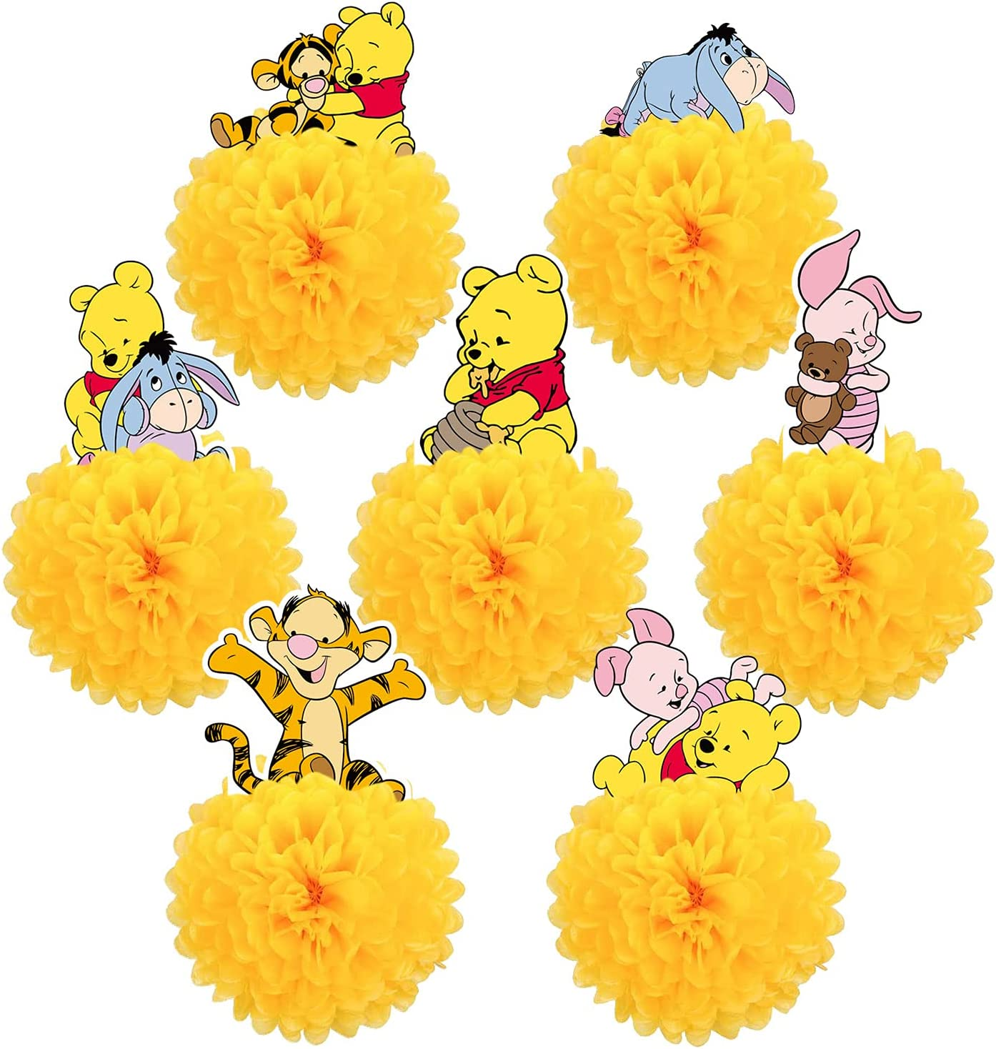 ZEADERS 7Pcs Winnie The Pooh Honeycomb Centerpieces 3D Table Decorations,Bear Table Decor Birthday Party Supplies, Paper Pom Poms Flower