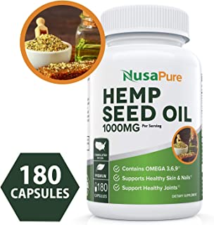 Hemp Seed Oil 1000mg 180 Capsules (90000mg/bottle, Organic, Non-GMO) - Omega 3, 6, 9 Fatty Acids - Supports Healthy Joints, Skin & Nails