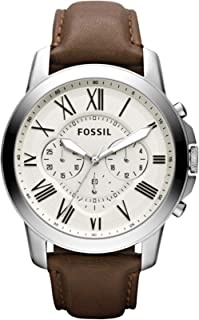 Fossil Grant Chronograph Cream Brown Leather Watch for  Men  - FS4735IE
