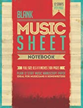 Blank Music Sheet Notebook: 12 Staff Music Manuscript Paper   Poster Cover [Red Theme]