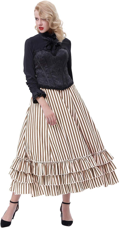 Steampunk Skirts | Bustle Skirts, Lace Skirts, Ruffle Skirts Belle Poque Womens Vintage Stripes Gothic Victorian Skirt Renaissance Style Falda  AT vintagedancer.com