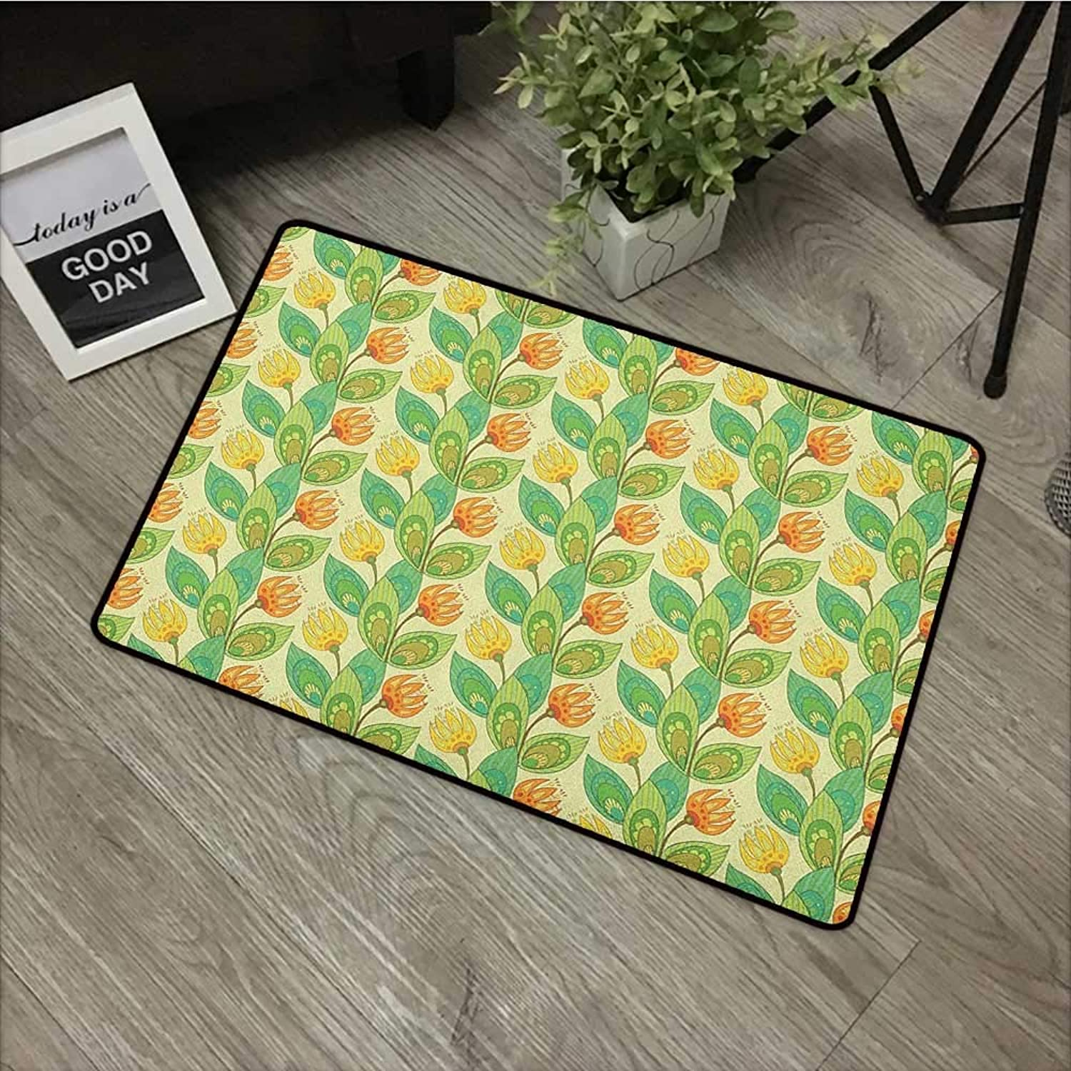 Restaurant mat W35 x L59 INCH Flower,Pastel colord Fresh Blooming Foliage Design with Hand Drawn Flourishing Branches, Multicolor Easy to Clean, no Deformation, no Fading Non-Slip Door Mat Carpet