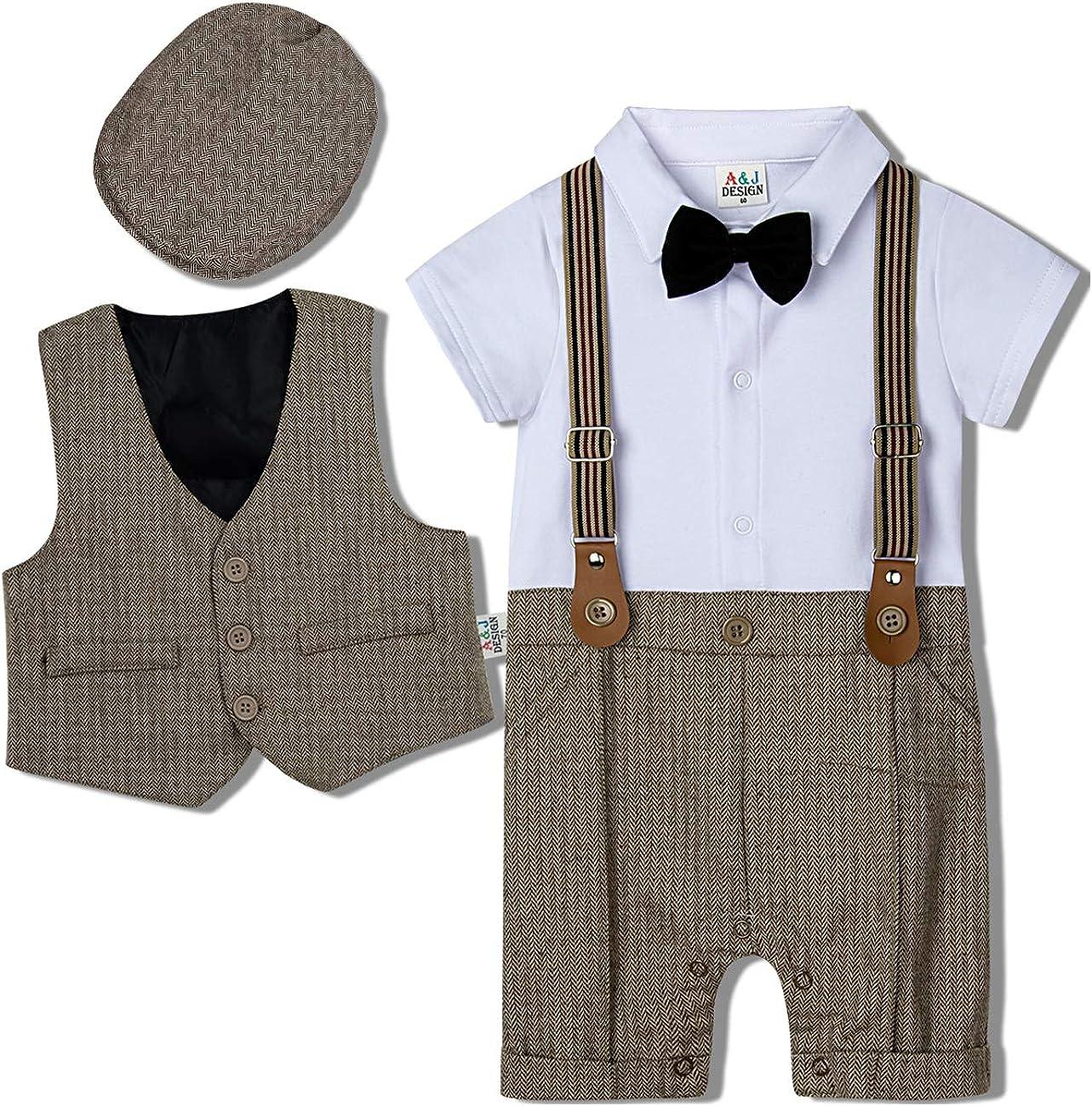 A&J DESIGN Baby Boys Outfit, 3pcs Gentleman Romper & Vest & Hat