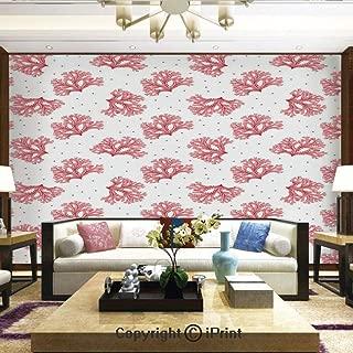Lionpapa_mural Self-Adhesive Large Wallpaper Better Designs for Living Room,Underwater Theme Seaweeds and Dots Algae Tropical Ocean Life Aquatic Artwork,Home Decor - 66x96 inches