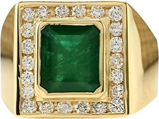 5 Carat Natural Green Emerald and Diamond (F-G Color, VS1-VS2 Clarity) 14K Yellow Gold Luxury Statement Ring for Men Exclusively Handcrafted in USA