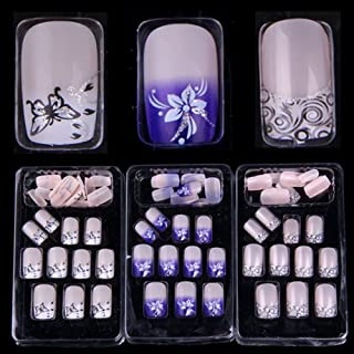 AORAEM 72 Mixed Assorted Style French Acrylic False Artificial Nail Tips(Glue not included)