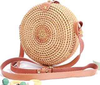WEIVE FASHIONS Rattan Shoulder Bag with Real Leather Adjustable Strap Floral Lining