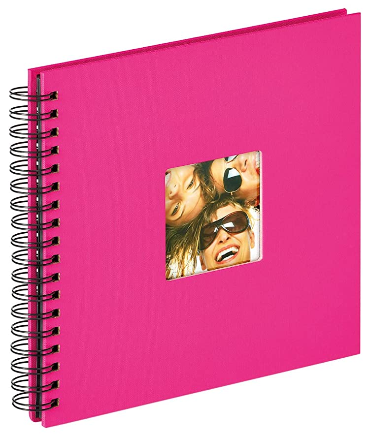walther design Fun Wire-O Bound Album for 40 Black Pages, Textured Paper, Pink, 26 x 25 x 3 cm