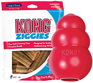 KONG - Classic and Ziggies - Dog Chew Toy with Dog Treats - for Large Dogs