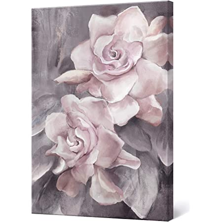 Amazon Com Lamplig Pink Grey Wall Art Rose Flower Floral Pictures Flowers Canvas Painting Blush Gray Dusty Roses Print Modern Artwork Framed For Living Room Bedroom Bathroom Home Decor 16 X24