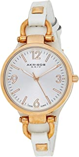 Akribos XXIV Women's Classic Swiss Quartz Watch - Engraved Sunburst Concentric Circles Dial