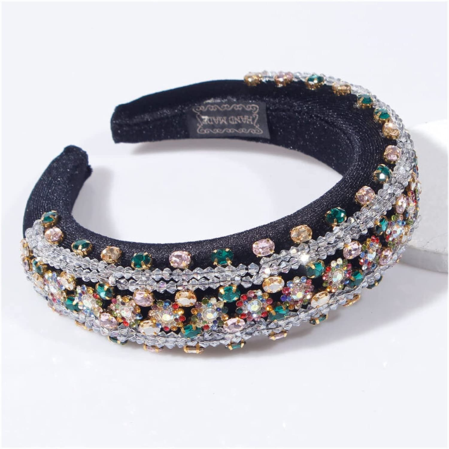 JIAQ 4 Styles White Crystal Baroque Rhinestones Padded Headband Party Wedding Hair Hoop for Women Girls Hair Accessories Headpieces (Color : C)