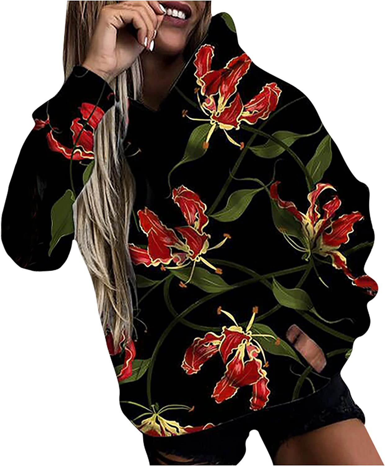 Hoodie for Women Black Trendy Casual Floral Prints Long Sleeve Shirts Lightweight Fit Crewneck Sweatshirts with Pocket