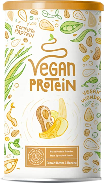 Proteine vegane - burro di arachidi e banana 600 gr AF-120 ALPHA FOODS