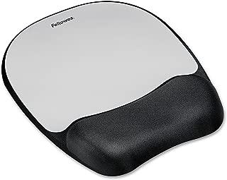 Fellowes 9175801 Memory Foam Mouse Pad Wrist Rest, 7 15/16 x 9 1/4, Black/Silver