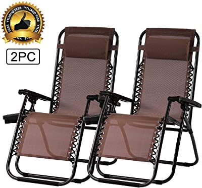 Zero Gravity Chair Outdoor Folding Lounge Chair Recliners Adjustable Lawn Lounge Chair with Pillow, Awning and Cup Holder Tray for Camping, Patio and Poolside 2PC (Brown)