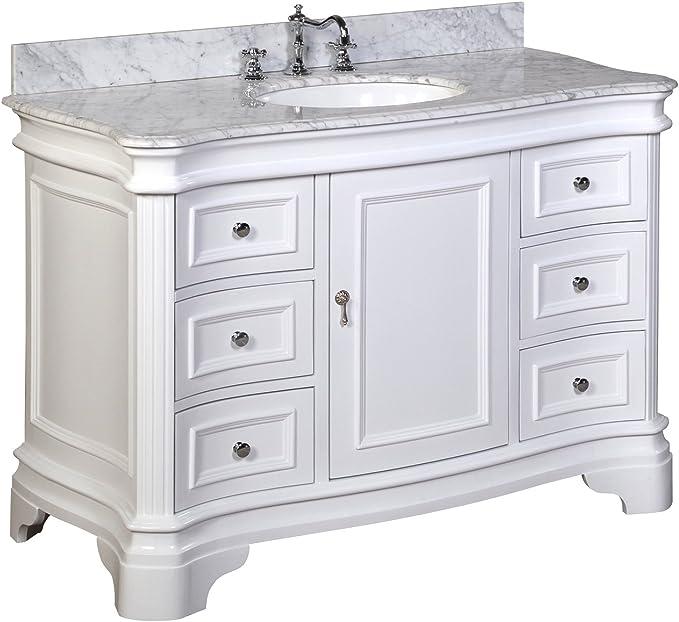 Amazon Com Katherine 48 Inch Bathroom Vanity Carrara White Includes White Cabinet With Authentic Italian Carrara Marble Countertop And White Ceramic Sink Furniture Decor