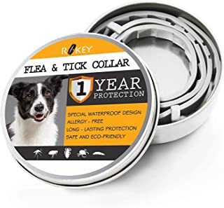 ROKEY Dog Flea and Tick Collar [Upgrade Version] - 1 Year Flea Prevention Collar for Dogs - Adjustable, Waterproof and Natural Flea and Tick Control Collar - One Size Fits All