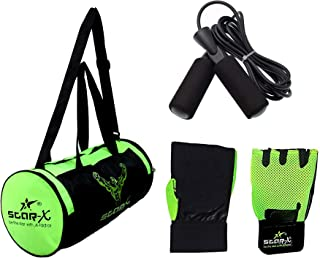 StarX Nylon-Mesh Home Gym Exercise Set of Floro-bar-1010 Gym Bag with Gym Gloves and Skipping Rope (Green)