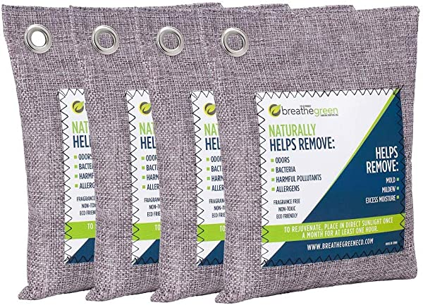 Breathe Green Bamboo Charcoal Air Purifying Bag 4 Pack Activated Charcoal Odor Absorber Natural Air Freshener Removes Odors And Moisture Odor Eliminator For Home Pets Car Closet Basement RV