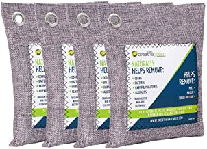 Breathe Green Bamboo Charcoal Air Purifying Bag (4-Pack), Activated Charcoal Odor Absorber, Natural Air Freshener Removes Odors and Moisture, Odor Eliminator for Home, Pets, Car, Closet, Basement, RV