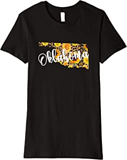 Womens Oklahoma Sunflower Leopard Print Wildflower State Map Premium T-Shirt