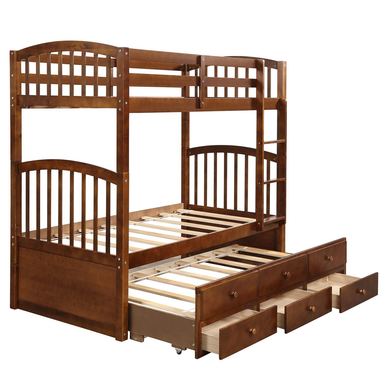 YSKWA - Cama con Escalera, Barra de Seguridad, Cama Nido Doble con 3 cajones para niños, Adolescentes, dormitorios, Muebles de habitación de Invitados: Amazon.es: Hogar