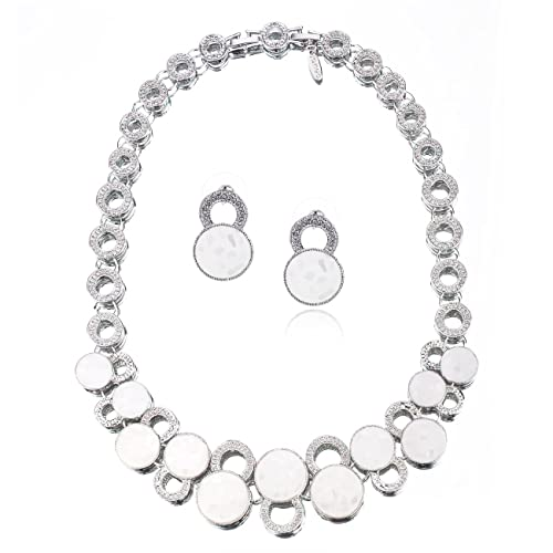 Womens Jewellery 3 Pieces Set, Necklace, Bracelet & Earrings, Special Occasion Real Mother of Pearl, 14K Rose Gold or Silver Rhodium. Gift Idea Her, Anniversary, Christmas by Janeo Jewels under £25